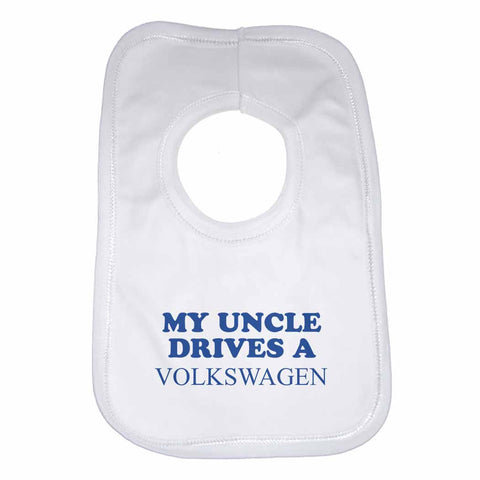 Baby Bib My Uncle Drives A Volkswagen - Unisex - White