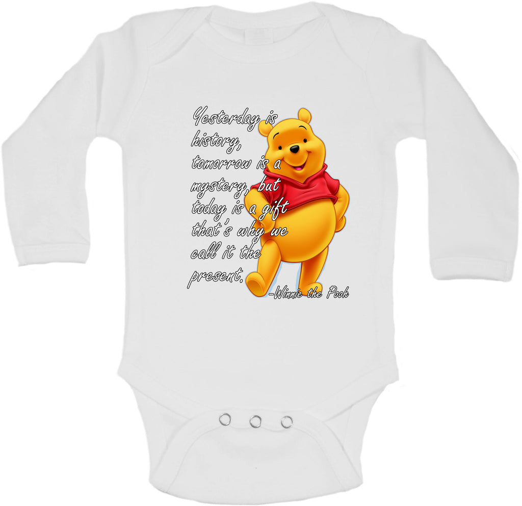 Yesterday Is History Winnie the Pooh Quote - Long Sleeve Vests for Girls