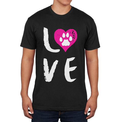 Heart LOVE Cat Dog Paw Mens Soft T Shirt