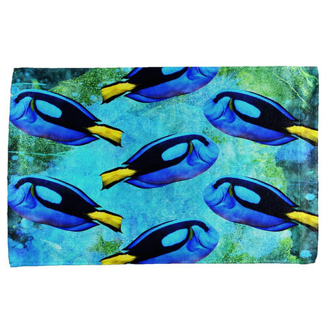 Blue Tang Fish Tropical Splatter All Over Hand Towel