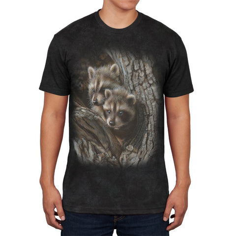 Baby Raccoons Tight Fit Mens Soft T Shirt