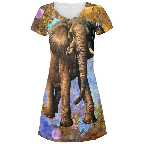 Elephant Distressed Splatter All Over Juniors V-Neck Dress