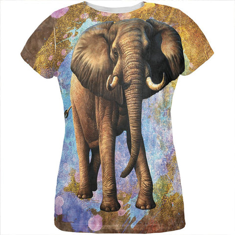 Elephant Distressed Splatter All Over Womens T Shirt