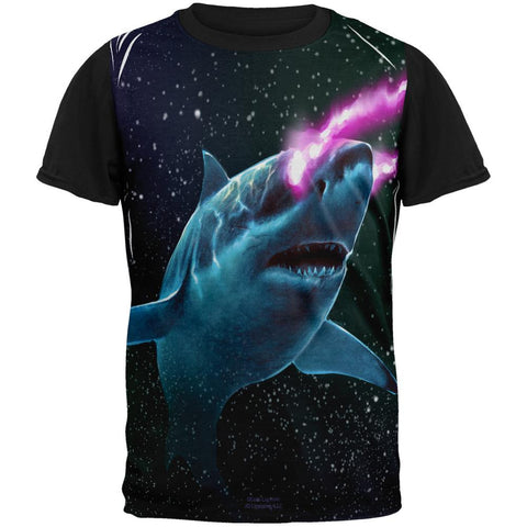 Galaxy Great White Shark Laser Beams All Over Mens Black Back T Shirt