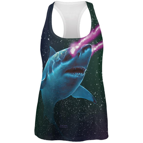 Galaxy Great White Shark Laser Beams All Over Womens Work Out Tank Top
