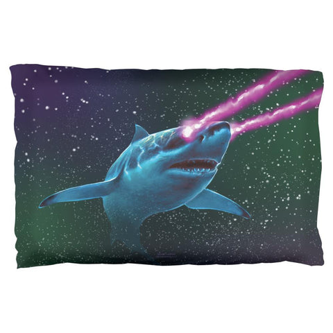 Galaxy Great White Shark Laser Beams Pillow Case
