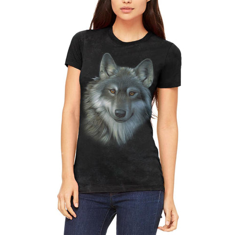 Timber Wolf Face Juniors Soft T Shirt
