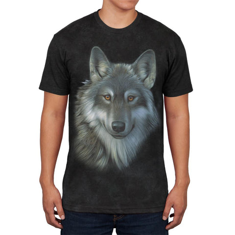 Timber Wolf Face Mens Soft T Shirt