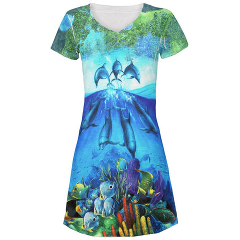 Dolphins Jumping Over Reef All Over Juniors V-Neck Dress