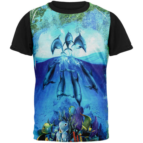 Dolphins Jumping Over Reef All Over Mens Black Back T Shirt