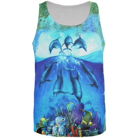Dolphins Jumping Over Reef All Over Mens Tank Top