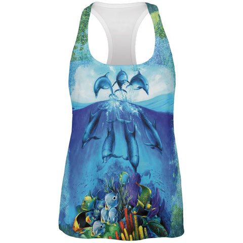 Dolphins Jumping Over Reef All Over Womens Work Out Tank Top