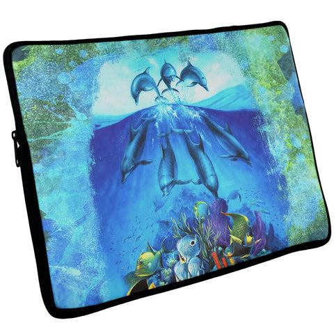 Dolphins Jumping Over Reef Laptop Sleeve 17 inch
