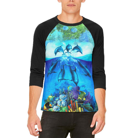 Dolphins Jumping Over Reef Mens Raglan T Shirt