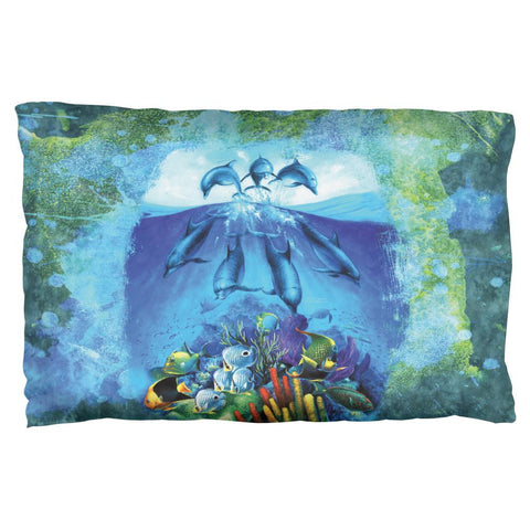 Dolphins Jumping Over Reef Pillow Case