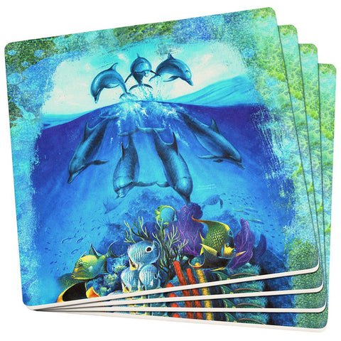 Dolphins Jumping Over Reef Set of 4 Square Sandstone Coasters