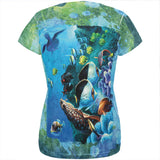 Tropical Reef Splatter All Over Womens T Shirt