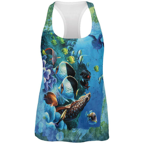 Tropical Reef Splatter All Over Womens Work Out Tank Top