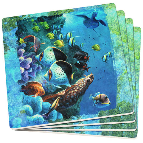 Tropical Reef Splatter Set of 4 Square Sandstone Coasters