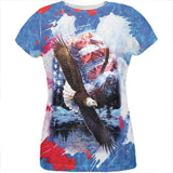 4th of July American Flag Bald Eagle Splatter All Over Womens T Shirt