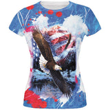 4th of July American Flag Bald Eagle Splatter All Over Juniors T Shirt