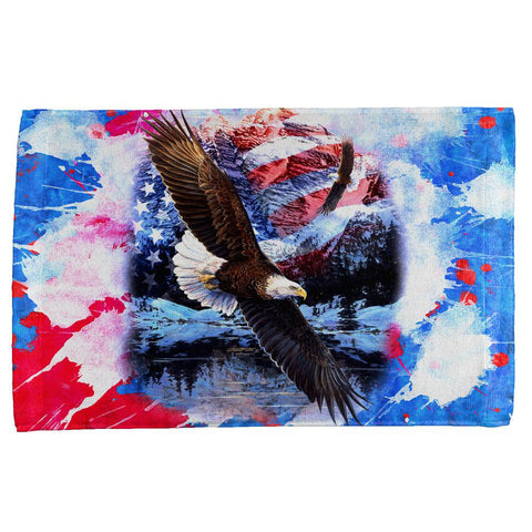 4th of July American Flag Bald Eagle Splatter All Over Hand Towel