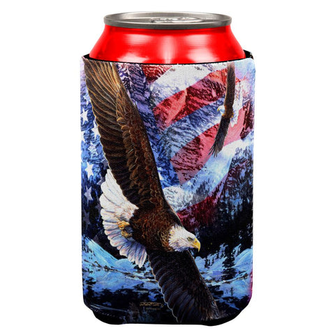 4th of July American Flag Bald Eagle Splatter All Over Can Cooler