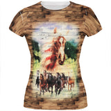 4th of July Wild Horse Mustang Patriot All Over Juniors T Shirt