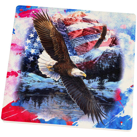 4th of July American Flag Bald Eagle Splatter Square Sandstone Coaster