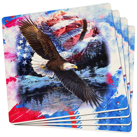 4th of July American Flag Bald Eagle Splatter Set of 4 Square Sandstone Coasters