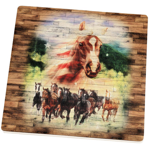 4th of July Wild Horse Mustang Patriot Square Sandstone Coaster