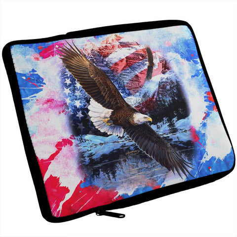 4th of July American Flag Bald Eagle Splatter iPad Tablet Sleeve