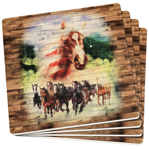 4th of July Wild Horse Mustang Patriot Set of 4 Square Sandstone Coasters