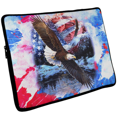 4th of July American Flag Bald Eagle Splatter Laptop Sleeve 17 inch