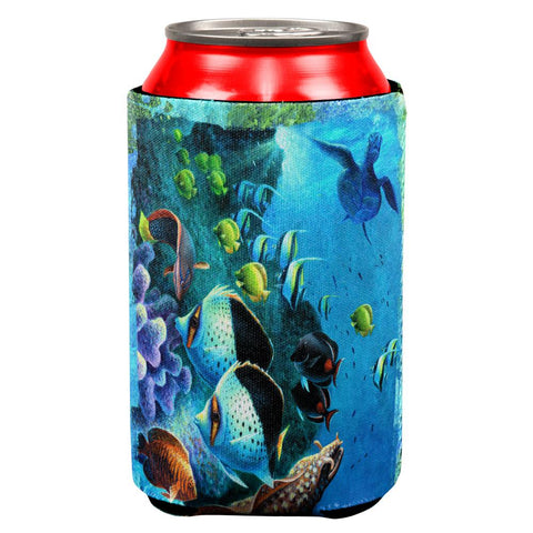 Tropical Reef Splatter All Over Can Cooler