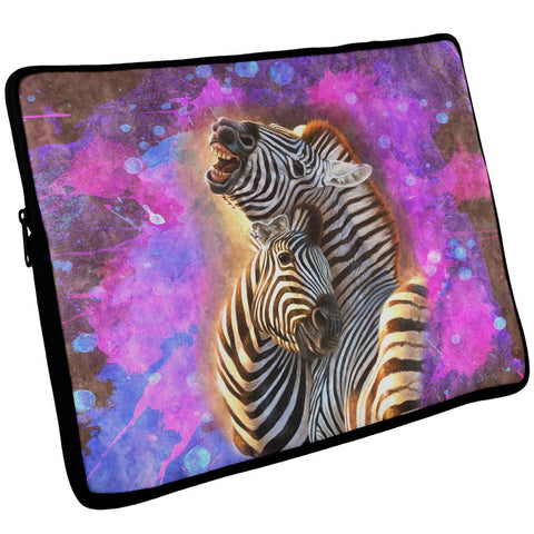 Zebra Lovers Splatter Laptop Sleeve 17 inch
