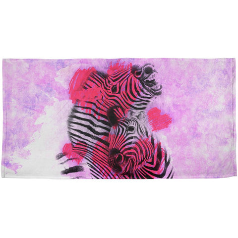 Zebra Lovers Valentines Hearts All Over Beach Towel