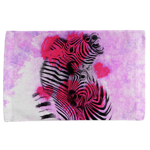 Zebra Lovers Valentines Hearts All Over Hand Towel