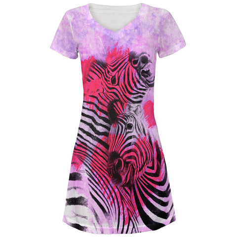 Zebra Lovers Valentines Hearts All Over Juniors V-Neck Dress