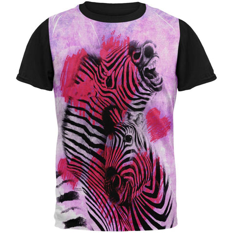 Zebra Lovers Valentines Hearts All Over Mens Black Back T Shirt
