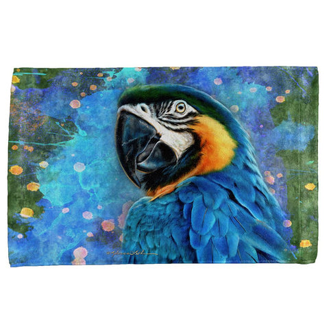Exotic Blue Gold Macaw All Over Hand Towel