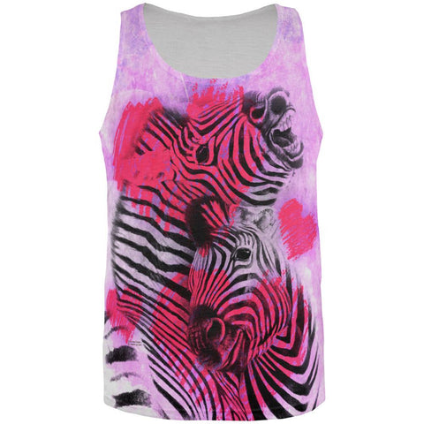 Zebra Lovers Valentines Hearts All Over Mens Tank Top