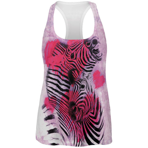 Zebra Lovers Valentines Hearts All Over Womens Work Out Tank Top