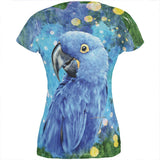 Blue Hyacinth Macaw Splatter All Over Juniors T Shirt