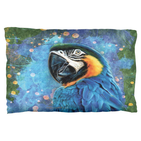 Blue Hyacinth Macaw Splatter Pillow Case