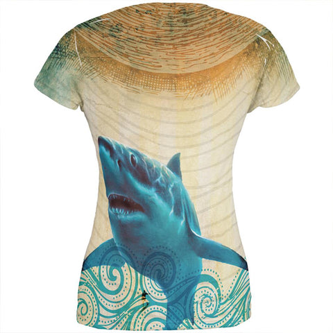 Great White Shark in Waves All Over Juniors T Shirt