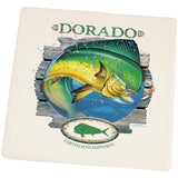 Dorado Deep Sea Fishing Square Sandstone Coaster