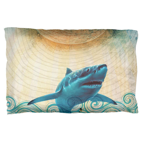 Great White Shark in Waves Pillow Case