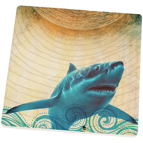 Great White Shark in Waves Set of 4 Square Sandstone Coasters