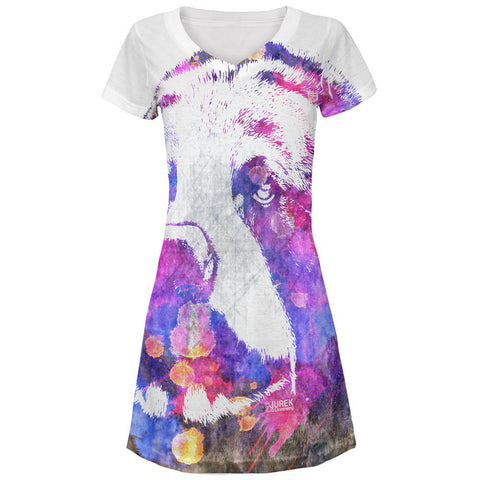 Spirit Bear Splatter All Over Juniors V-Neck Dress